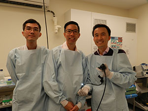 L-R Dr Wong Hang Siang, Dr Adrian Chan Kwok Wai, and St Andrew's respiratory physician Dr Samuel Kim