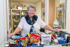 The auxiliary shop sells a range of gifts, magazines and other items.