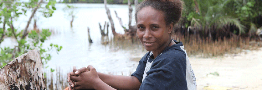 Solomon Islands girl near river
